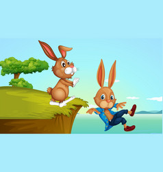 Bunny at the cliff vector