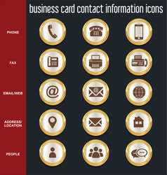 Business card contact information icons vector