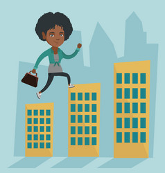 business woman walking on the roofs of buildings vector image