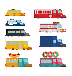 car cartoon set fire engine and police car vector image
