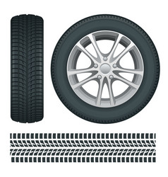 car wheels and tires in a row car tires and track vector image