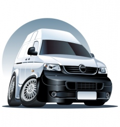 cartoon delivery cargo van vector image