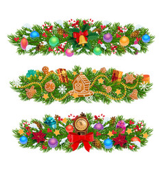 christmas garlands xmas tree gifts presents vector image