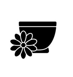 Chrysanthemum tea black glyph icon vector