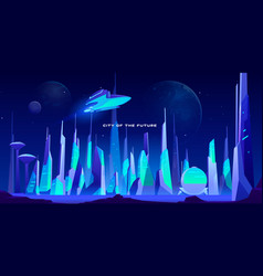 city future at night in neon lights architecture vector image