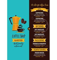 Coffee restaurant cafe menu tea board template vector