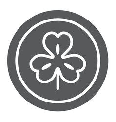 Coin with clover glyph icon st patrick s day and vector