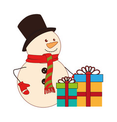 color silhouette with snowman and gift boxes vector image