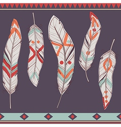 colorful set of ethnic decorative feathers vector image