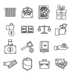 Corruption bribery icons set outline style vector