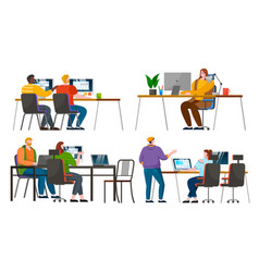 coworking people from team work on computers vector image