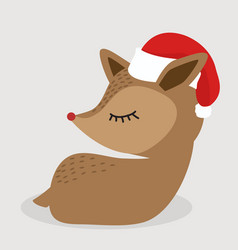 cute deer sitting with red hat vector image