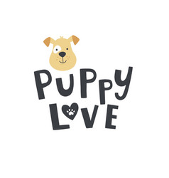 Cute puppy head lettering and dog face vector