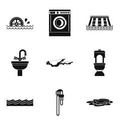 Dam icons set simple style vector
