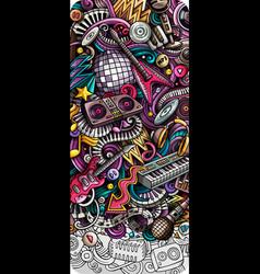 disco music hand drawn doodle banner cartoon vector image