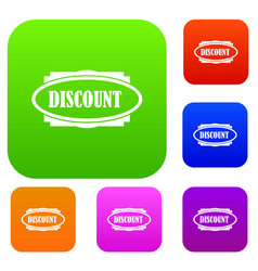 discount oval label set collection vector image