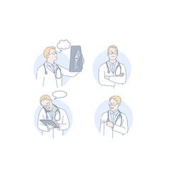 doctor therapist medicine set concept vector image