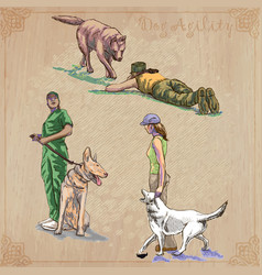 Dog training collection pack freehand vector