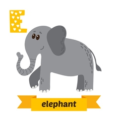 Elephant E letter Cute children animal alphabet in vector image