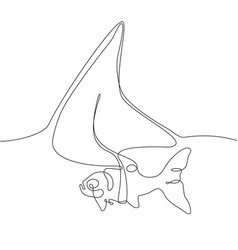 fish with a shark fin - one line design style vector image
