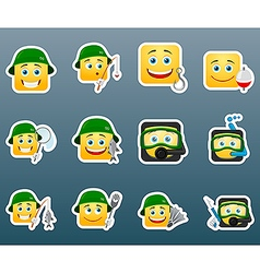 Fishing smile stickers set vector