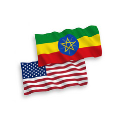 flags ethiopia and america on a white vector image