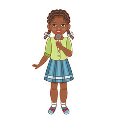 Flat african black girl singing microphone vector