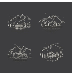 Flat line with wild landscapes vector image