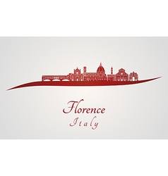 Florence skyline in red vector image