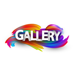 gallery paper poster with colorful brush strokes vector image
