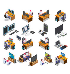 Gaming development isometric set vector