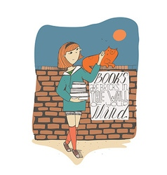 Girl with books caress cat on brick wall Lettering vector