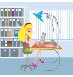 Girl working at the office with notebook vector image