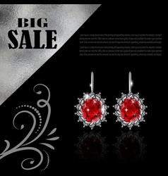 Golden earrings with ruby and diamonds vector