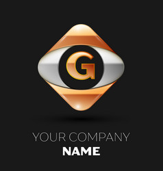 golden letter g logo in the golden-silver square vector image