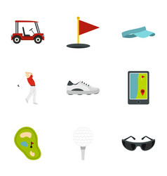 Golf equipment icons set flat style vector