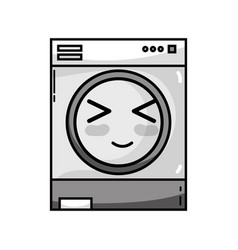 Grayscale kawaii cute happy washing machine vector