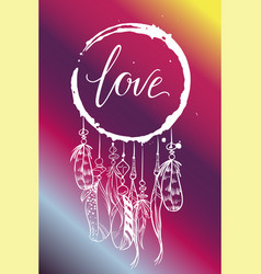 Greeting card dream catcher with feathers vector