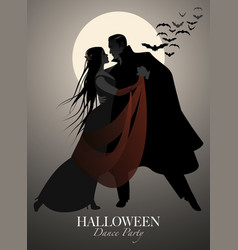 halloween dance party romantic vampire couple vector image