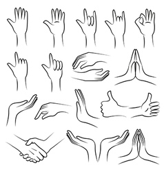 Hand set on white blackground vector image