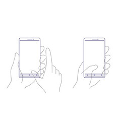 hands holding smartphone template outline design vector image
