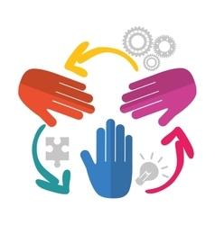hands teamwork support design vector image