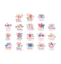 happy birthday logo templates design set friends vector image