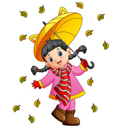 Happy girl under umbrella vector