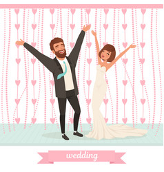happy married couple having fun on dance floor vector image