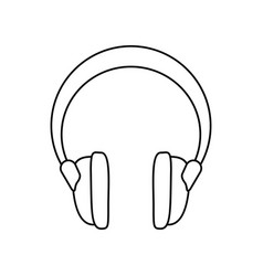 Headphones music sound device thin line vector