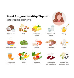 healthy food for thyroid set icons in flat vector image