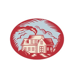 House Homestead Cottage Woodcut vector