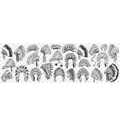 indians feather headdress doodle set vector image