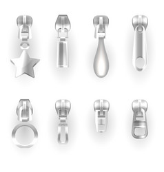 isolated zipper pullers or silver zip hasps vector image